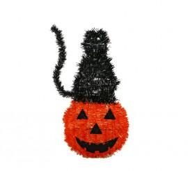 Gato negro encima de Calabaza para decorar en Halloween