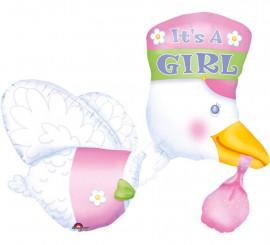 Globo Cigüeña con Bebé niña de 58x81 cm