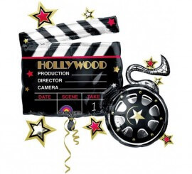Globo metalizado Claqueta Hollywood de 76x73 cm