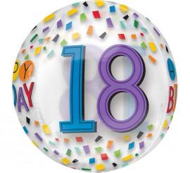 Globo de Film transparente Happy Birthday 18 de 38x40 cm