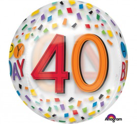 Globo de Film transparente Happy Birthday 40 de 38x40 cm