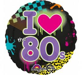 Globo metalizado I Love the 80s de 43 cm