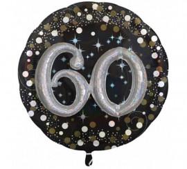 Globo metalizado número 60 centelleante de 81 cm