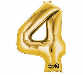 Globo metalizado Oro número 4 de 60x91 cm
