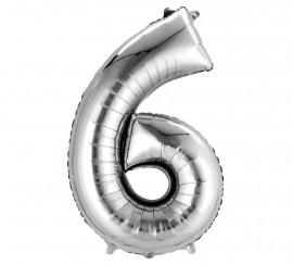 Globo metalizado Plata número 6 de 55x86 cm