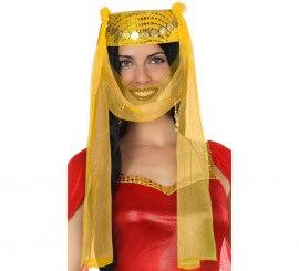 Gorro Árabe amarillo con Velo
