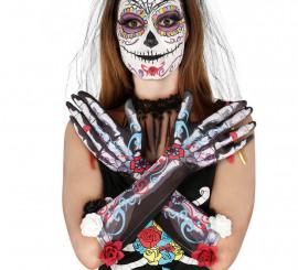 Guantes Esqueleto con Flores 40 Cm