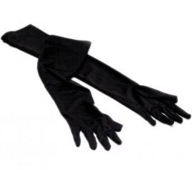 Guantes largos negros 37 cm. Carnaval y Halloween
