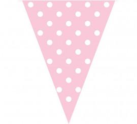 Guirnalda Banderines Rosa con Topos Blancos 3,6 mts