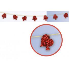 Guirnalda o Tira decorativa de Corazones dobles de 277 cm