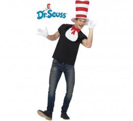 Kit Cat in the Hat adulto: Sombrero, babero con lazo y guantes