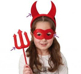 Kit de Diablesa infantil: Tiara, Antifaz y Tridente