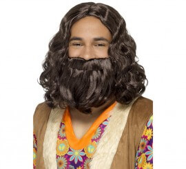 Kit de Hippie: Peluca y Barba Castaña