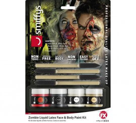 Kit de Látex líquido con 4 colores para Zombie de 29,5 ml.