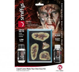Kit de látex líquido, sangre y cicatrices para Zombie