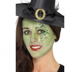 Kit de Maquillaje Bruja: Pinturas Verdes y Tatuaje