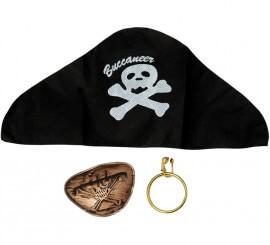 Kit de Pirata: Parche, Pendiente y Sombrero
