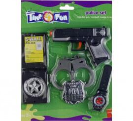 Kit de policía: Revólver, Esposas, Placa y Reloj