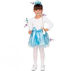 Kit de Princesa Azul: Trenza, Tiara, Varita y Falda
