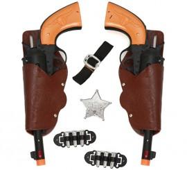 Kit de Sheriff: 2 Pistolas negras, Cartucheras, Cinturón, Balas y Estrella