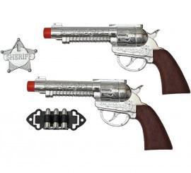 Kit de Sheriff: 2 Pistolas plateadas, Balas y Estrella