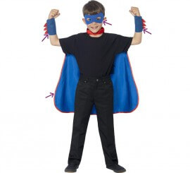 Kit de Superhéroe Azul: Capa, Antifaz y Muñequeras