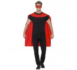 Kit de Superhéroe Rojo adulto: Capa y Antifaz