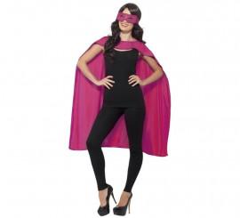 Kit de Superhéroe Rosa adulto: Capa y Antifaz