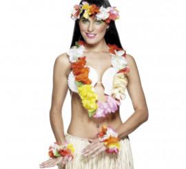Kit o conjunto Hawaiano de flores para mujer