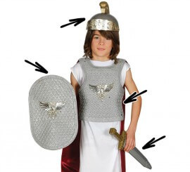Kit Romano: Casco, armadura, espada y escudo