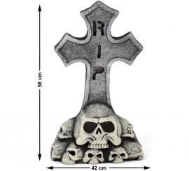 Pierre Tombale Croix et Squelette 58x42 cm