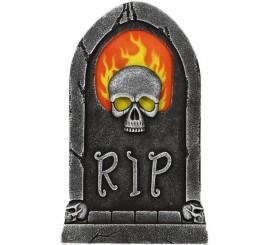 Lápida con Luz de Esqueleto y Fuego 65X40 cm