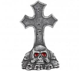 Lápida Cruz con calavera y luz  52 cm