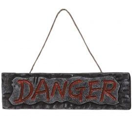 Letrero DANGER para Halloween 30 x 10 cms.