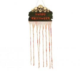 Letrero de Halloween y calaveras con cortina de 35x80 cm