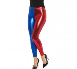 Mallas de Arlequín Metálicas Roja y Azul para mujer