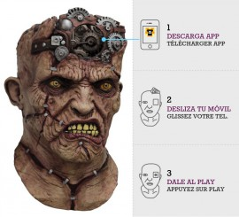 Máscara con animación Frankenstein Cerebro Engranajes