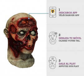 Máscara con animación Zombie cerebro latente