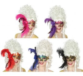 Máscara con Flor y Pluma extra grande en 5 colores surtidos