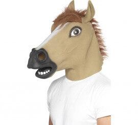Máscara de Caballo Marrón de látex con pelo