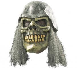 Masque Tête de Mort avec cheveux et casque pour Halloween