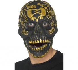 Máscara de Calavera Deluxe Dorada para adultos