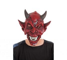 Máscara de Diablo roja con cuernos