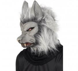 Máscara de Hombre Lobo Gris con pelo