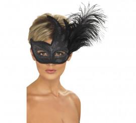 Masque Vénitien Noir avec Plume
