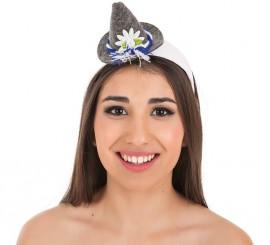 Mini sombrero Bávara gris para mujer
