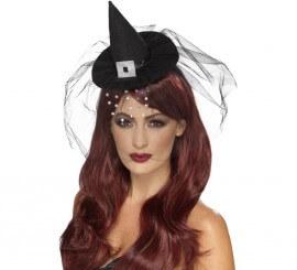 Mini sombrero de Bruja Gótica con velo