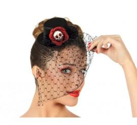 Mini sombrero Calavera Gótico con velo y flor