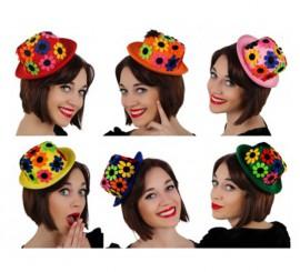 Mini Sombrero de Payaso con flores 6 surtidos