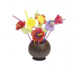 Pack de 12 pajitas o cañitas hawaianas con flor en colores variados